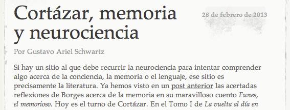 Cortázar, memoria y neurociencia